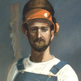 Lou Posner: 'Portrait of James Taylor in Bib Overalls', 1994 Oil Painting, Portrait. Artist Description: No. 2 in the white T- shirt and bib overalls series begun in 1994.  Signed on Aug. 17, 1994.  James ia a chainsaw carver as well as an artist in a number of other media, a trapper, hunter, tournament bass fisherman, craftsmen, guitar- player, and historical re- enactor. ...