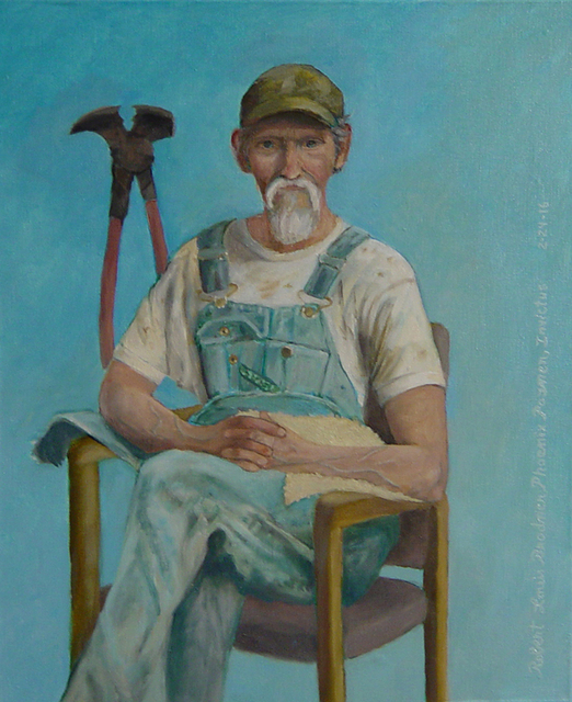Lou Posner Portrait of Jimmy Watson in Bib Overalls 2016
