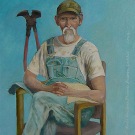 Lou Posner Artwork Portrait of Jimmy Watson in Bib Overalls, 2016 Oil Painting, Portrait