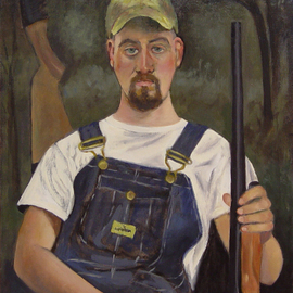 Lou Posner: 'Portrait of Jon Suhrheinrich in Bib Overalls', 2012 Oil Painting, Portrait. Artist Description:   # 16 in the bib overalls series.  One of the three best helpers on this 40- acre property that I ever had. An Eagle Scout, 4- H- er, hunter, fisherman, creative problem- solver. He is shown with his Remington 870 Express 12 guage shotgun. ...