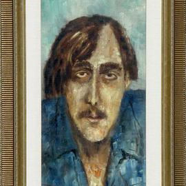 Lou Posner: 'Portrait of KR', 1973 Oil Painting, Portrait. Artist Description: After 30 years, we finally reunited.  And it was good.  His 26- year- old son grew up with the painting.  It hangs in K. R.' s dining room.  Collection of  K. R. , Canada....
