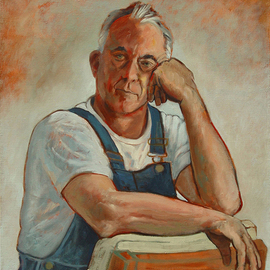 Lou Posner: 'Portrait of Klaus Rohrich in Bib Overalls', 2006 Oil Painting, Portrait. Artist Description: No. 12 in the bib overalls and white T- shirt series begun in 1994.  Signed on July 4, 2006.  Klaus is a Canadian, a businessman, political commentator, chef, hunter, fisherman, gardener, sculptor, cartoonist, graphic designer, photographer, cattle rancher, yachtsman and connoisseur of fine Scotches. ...