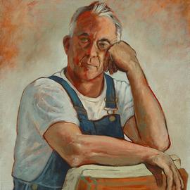 Portrait of Klaus Rohrich in Bib Overalls