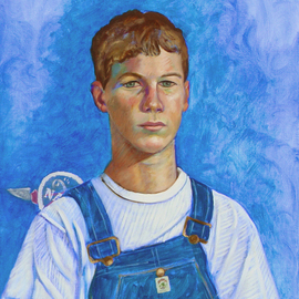 Lou Posner: 'Portrait of Levi Hilgenhold in Bib Overalls', 2008 Oil Painting, Portrait. Artist Description:  No. 14 in the bib overalls and white T- shirt series begun in 1994.  Levi, at age 13, is the youngest member of the series.  He is a space buff and Space Camp veteran who wants to eventually join NASA.  He is an active Boy Scout, 4- H- ...