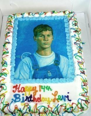Lou Posner Artwork Portrait of Levi Hilgenhold in Bib Overalls done as birthday cake, 2008 Portrait of Levi Hilgenhold in Bib Overalls done as birthday cake, Food