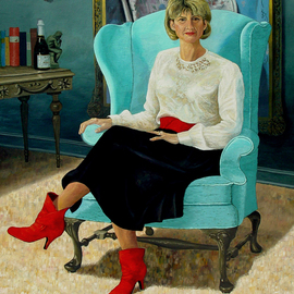 Lou Posner: 'Portrait of MP on Her 50th Birthday', 2000 Oil Painting, Portrait. Artist Description:    My wife wanted me to paint her on her 50th birthday.  I took Lady Agnew out of Sargent's portrait, leaving only the chair in the background painting on the wall; the comparison is intentional.  The room is invented.  The bookend is the one left after my freshman- ...