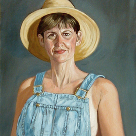 Lou Posner: 'Portrait of Mary  Posner in Bib Overalls', 1998 Oil Painting, Portrait. Artist Description: No. 5 in the bib overalls and white T- shirt series.  Signed on Sept. 7, 1998.  The only female in the series.  Clinical psychologist. The artist' s wife....