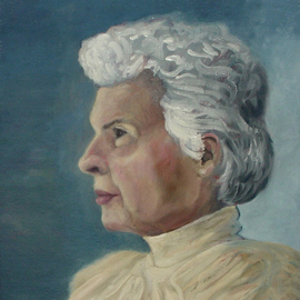 Lou Posner: 'Portrait of Mildred C  Munchel', 2000 Oil Painting, Portrait. Artist Description:  Mildred Cornelia Munchel, April 26, 1921- July 21, 2008.  My mother- in- law.  I was a pall- bearer.  My wife wrote and delivered the eulogy.  Over 37 years, Mildred modeled for many pastel and pencil drawings and several oil paintings.  She was poised, serene and focused when modeling.  ...