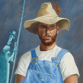 Lou Posner: 'Portrait of Peter Otfinoski in Bib Overalls', 1994 Oil Painting, Portrait. Artist Description:  No. 1 in the bib overalls and white T- shirt series.  Peter is a sculptor and painter and a memoirist.  His sculpture, Peeping Tom, appears in the background. ...