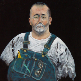 Lou Posner: 'Portrait of Randall Kleeman in Bib Overalls', 2012 Oil Painting, Portrait. Artist Description:  No. 17 in the bib overalls and white T- shirt series which was begun in 1994.  Signed on Aug. 1, 2012.  Randall is a construction manager and a master carpenter and woodworker presently teaching  wooden boat- building at the American School in Tunis, Tunisia.  Using a famous surrealisit'...