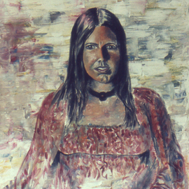 Lou Posner: 'Portrait of Stephanie Eble', 1972 Oil Painting, Portrait. Artist Description:  This oil portrait was done early in my art life, Aug. 28, 1972, only 15 months after I began to paint.  It was done in four hues: a red, a yellow, a blue and a green.  The exact same four pigments were used for the same- sized  portrait ...