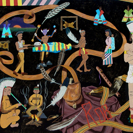 Lou Posner: 'Rob and the Indians II', 1996 Oil Painting, Indiginous. Artist Description: When I was 12 years old, my family moved from an apt. above our store to a duplex in a neighborhood of houses. I got my own bedroom. My mother painted the walls Indian broan and wanted me to do a mural about American Indians on the wall. ...
