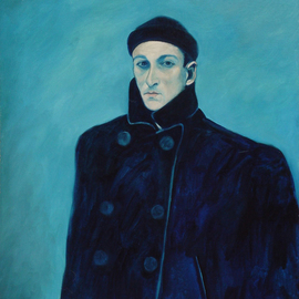 Lou Posner Artwork Self Portait in Peacoat and Watchcap, 1984 Oil Painting, Portrait