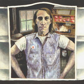 Lou Posner: 'Self Portrait in Medicine Chest Mirror I', 1973 Oil Painting, Portrait. Artist Description: Painted not too long after I returned from duty in Vietnam: August, 1970. It was painted in the garage studio of artist Tony Vestuto, Bloomington, Indiana.  The button on the blue chambray shirt is a Vietnam Veterans Against the War button. The construction posts for Tony' s Brettony ...