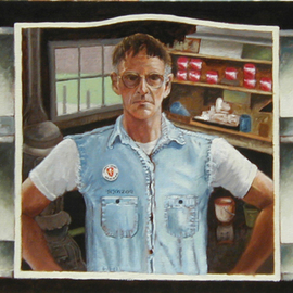 Lou Posner: 'Selfportrait in Medicine Chest Mirror II', 2002 Oil Painting, Portrait. Artist Description: This is an updated version of a 1973 painting which appears in the book, Vietnam: Reflexes and Reflections, ( Harry N. Abrams, publisher) a collection of artwork, poetry, photographs and statements by Vietnam veteran artists....