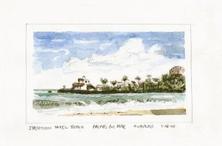 Lou Posner: 'Sheraton Beach Hotel Puerto Rico', 2010 Watercolor, Beach.  A beautiful day in Puerto Rico Watercolor and pencil on paper.  Some masking tape lines still visible. ...