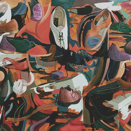 Lou Posner: 'Shoes', 2000 Oil Painting, Fashion. Artist Description:  She wanted shoes.  I gave her shoes.  ...