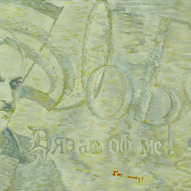 Lou Posner: 'Slobo  Dream  of  Me  Im Coming', 1999 Oil Painting, Political. Artist Description:   I find it very gratifying to be able to post this painting here on April 1, so soon after the arrest and detention of Slobodan Milosevic in Serbia.  A few years ago a protestor in Belgrade carried a sign which translated, Slobo!  Dream of me!  I'm coming!  ...