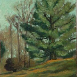 Lou Posner: 'Southbury Tree', 1982 Oil Painting, Landscape. Artist Description:  Out with an artist friend, painting. Custom- framed. Oil on canvas board. ...