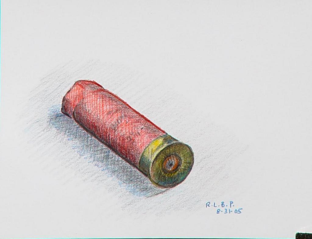 Lou Posner Artwork: Spent Shotgun Shell | Original Drawing ...