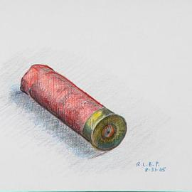Lou Posner Artwork Spent Shotgun Shell, 2005 Pencil Drawing, Americana