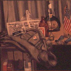 Lou Posner Artwork Still Life with Field Jacket, 1972 Oil Painting, Still Life