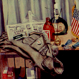 Lou Posner: 'Still Life with Field Jacket', 1972 Oil Painting, Still Life. Artist Description: Elements of my life about two years after returning from Vietnam. Collection of Michael Yomtov. ...