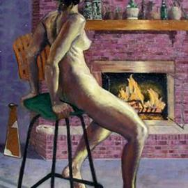 Lou Posner: 'Studio Model', 2001 Oil Painting, Nudes. Artist Description: Painted from life in the artist' s studio.  Viewers are invited to compare it with Velazquez' Rokeby Venus.  Not for sale....