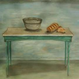 Lou Posner: 'Table with Bread and Bowl', 2000 Oil Painting, Still Life. Artist Description: After Marie Roberts and Amadeo Modigliani.  Some people see this as a rural kitchen scene.  Note the bowed baseboard....