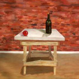 Lou Posner: 'Table with Wine Bottle and Christmas Ornament', 2000 Oil Painting, Still Life. Artist Description: Some people see this as an urban basement scene.  Note the bowed baseboard....