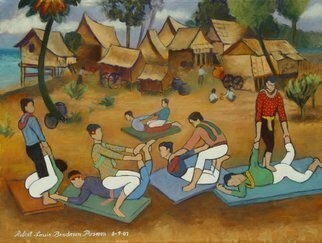 Culture Oil Painting by Lou Posner Title: Thai Painting for Foosh, created in 2007