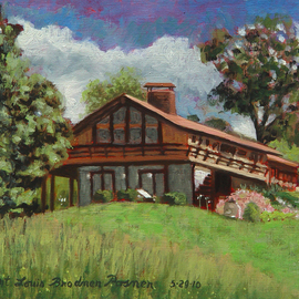 Lou Posner Artwork The House from the Back Lawn, 2010 Oil Painting, Architecture