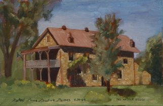 Lou Posner: 'The Nester House', 2004 Oil Painting, Americana. A national historic structure on the banks of the Ohio River at Troy, Indiana. Built in 1863, it was formerly a hotel. My plumber friend recently helped with remodeling the apartment upstairs.  Framed in lattice painted white.  The price is high because even tho it is a famous structure, there ...