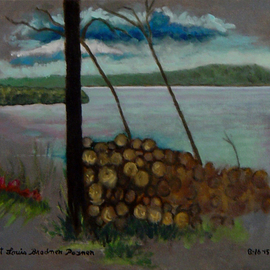 Lou Posner Artwork The Ohio River at Magnet, Indiana, on July 6, 2015, 2015 Oil Painting, Scenic