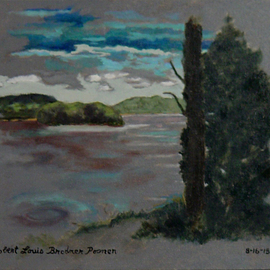 Lou Posner Artwork The Ohio River at Magnet, Indiana, on June 28, 2015, 2015 Oil Painting, Scenic