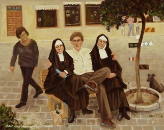 Lou Posner: 'The Tale of the Priest of the Nun', 2003 Oil Painting, Religious. Real titleThe Nuns Priests Tale a reference to Chaucer.  An artist friend befriends two nuns and learns a lot about life.  Dog observes.  Sour- puss passes judgment....