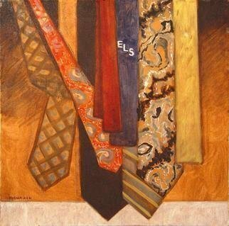 Lou Posner: 'The Ties That Bind', 1981 Oil Painting, Satire. ELS stands for the Emerson Literary Society, a fraternity, founded by Ralph Waldo Emerson, at Hamilton College, Clinton, NY.  In the mid 1970s the college administration decided to abolish and destroy ELS, along with all the other fraternities on campus.The artist was a member and officer of ELS in ...