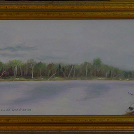 Lou Posner Artwork The Wabash River Storm Coming In, 2000 Oil Painting, Landscape