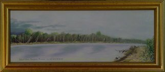 Lou Posner: 'The Wabash River Storm Coming In', 2000 Oil Painting, Landscape.  The Wabash River at New Harmony, Indiana.  Referred to in tune titled, Indiana. . . .  when I dream about the moonlight on the Wabash, then I yearn for my Indiana home.  Professionally custom framed in gold.  ...