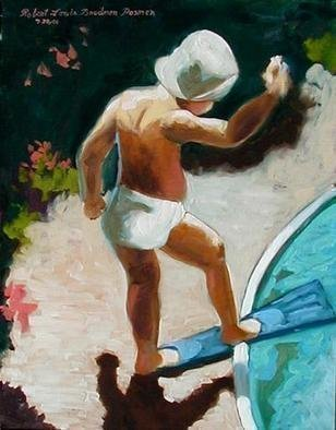 Lou Posner: 'Toddler at Poolside', 2001 Oil Painting, Children.