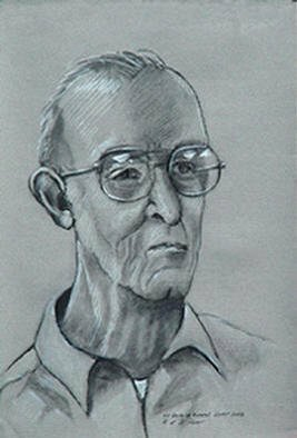 Portrait Charcoal Drawing by Lou Posner Title: Uncle Al Munchel   charcoal portrait, created in 2003