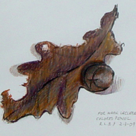 Lou Posner Artwork White Oak Leaf and Pignut Hickory Nut, 2009 Pencil Drawing, Nature