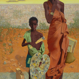 Lou Posner Artwork Young Somali Artist, 1994 Oil Painting, World Culture