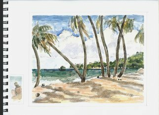 Lou Posner: 'Yubucoa Puerto Rico', 2010 Watercolor, Beach.  Robert Leedy and I painted this same scene in January, 2010.  See www.  robertleedyart.  com for his interpretation of the view.  He included me at work on this painting + the doggie friend who had adopted us.  While I was working a young couple came by and parked themselves at the...