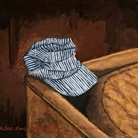 Lou Posner: 'glenns railroad cap', 2020 Oil Painting, Still Life. Artist Description: In memory of a dear friend. ...