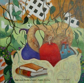 Lou Posner: 'gourds', 2018 Oil Painting, Visionary. Artist Description: A backyard patio filled with plants, books, painting gear, white lattice, gardening tools, homemade cabinet and GOURDS. ...