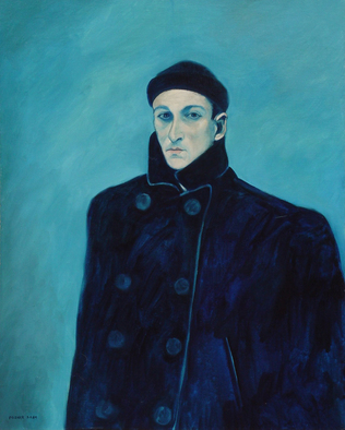 Lou Posner Artwork selfportrinpeacoatandwatchcap, 1984 Oil Painting, Portrait