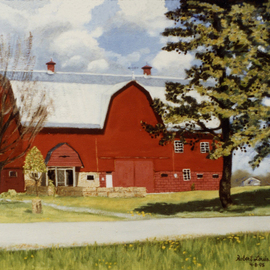 Lou Posner: 'the big red barn', 1995 Oil Painting, Farm. Artist Description: This 122- year- old building, a county landmark, has been  prepurposed  into an emporium for crafts, antiques, house- made desserts, etc. , grand opening on Oct. 21, 2017. The resotration and repurposing has been done by Dawn and Shelby Brown as  Brown s Bittersweet Farms.   The painting shown here ...