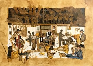Lou Posner: 'the broom factory', 2020 Oil Painting, History. Inspired by a broom factory in Utah around 1896.  From start to finish this painting took me 12 years. ...