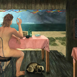 Lou Posner: 'the clam shack', 1984 Oil Painting, Sea Life. Artist Description: My all- time favorite model, Katherine Webster.  The increasing wind of the incoming storm is suggested by the flapping of the colored streamers and the pink tablecloths, the blown- around paper bag on the floor, the bent dune grass, and the modelaEURtms wind- whipped hair.  The violence ...